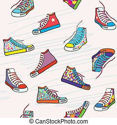 engraçado, padrão, -, seamless, luminoso, sneakers, desenho