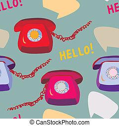 engraçado, padrão, seamless, telefone, desenho, retro