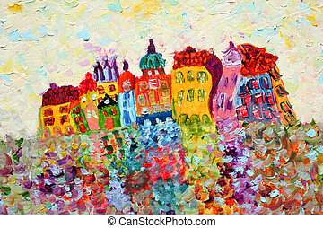 engraçado, painting., casas