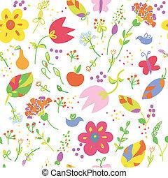 engraçado, papel parede, seamless, desenho, frutas, floral,...