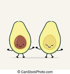 engraçado, par, abacate, segurando, hands.