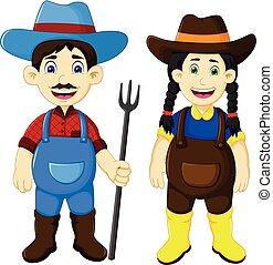 engraçado, par, ancinho, segurando, agricultor, caricatura