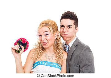 engraçado, par casando
