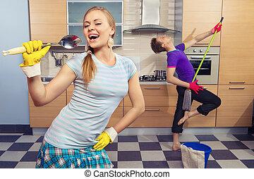 engraçado, par, ligado, cozinha