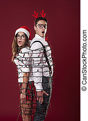engraçado, par, luzes natal, tangling, nerd
