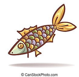 engraçado, peixe, caricatura