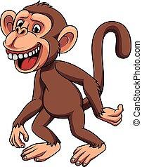 engraçado, pequeno, caricatura, macaco