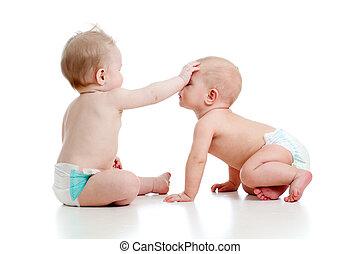 engraçado, pequeno, dois, junto, jogar crianças