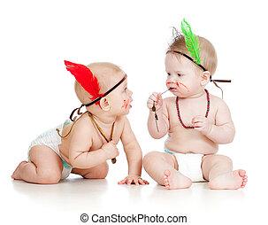 engraçado, pequeno, duas crianças