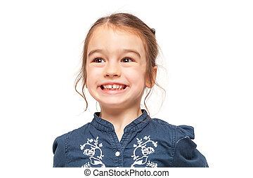 engraçado, pequeno, expressão, menina sorri