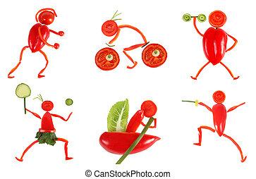 engraçado, pequeno, feito, pessoas, saudável, legumes,...