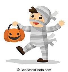 engraçado, pequeno, feliz, múmia, halloween., crianças, truque, experiência., deleite, cesta, branca, abóbora, ou, traje