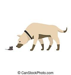 engraçado, pequeno, ilustração, rato, cão, isolado, vetorial, inalações, caricatura, white.