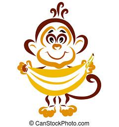 engraçado, pequeno, seu, macaco, grande, mãos, banana