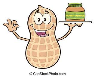engraçado, personagem, caricatura, amendoim
