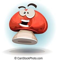 engraçado, personagem, caricatura, cogumelo