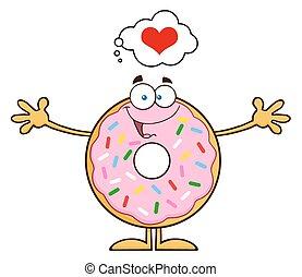 engraçado, personagem, caricatura, donut
