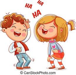 engraçado, personagem, crianças, riso, fun., caricatura