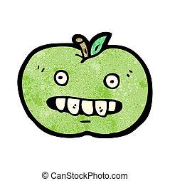 engraçado, personagem, maçã, caricatura