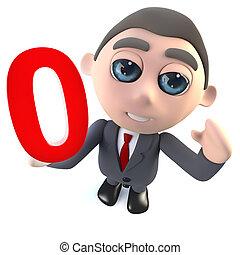 engraçado, personagem, número, 0, zero, segurando, homem negócios, caricatura, 3d