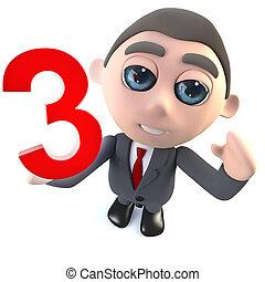 engraçado, personagem, numere três, 3, segurando, homem negócios, caricatura, 3d