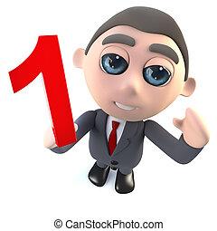 engraçado, personagem, numere um, segurando, homem negócios, numeral., caricatura, 3d