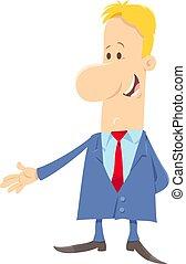 engraçado, personagem, ou, homem negócios, caricatura, homem