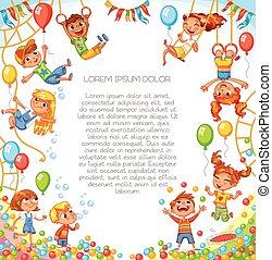 engraçado, personagem, park., playground., caricatura, divertimento