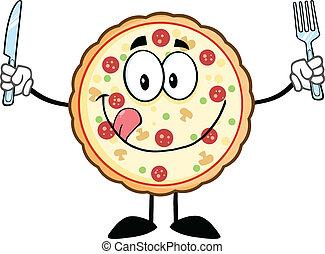 engraçado, personagem, pizza, caricatura