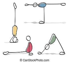 engraçado, pessoas, prática, ioga