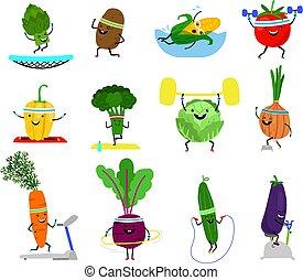 engraçado, pimenta, jogo, alimento, wellness, legumes, amarela, esportes, characters., exercitar, cenoura, rir, caras, vegetal, pepino, desporto, brócolos