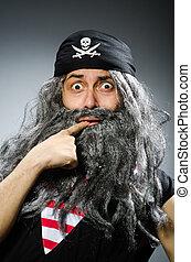engraçado, pirata, longo, barba