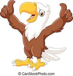 engraçado, polegar, águia, abandone, caricatura