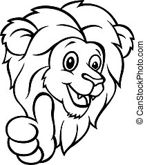 engraçado, polegar, abandone, leão, caricatura