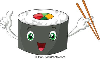 engraçado, polegar, dar, sushi, cima, caricatura