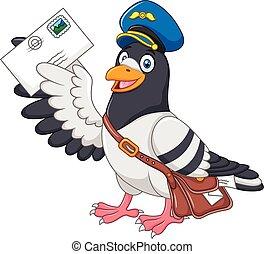 engraçado, pombo, caricatura, entregar