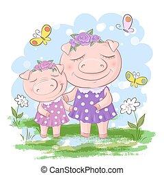 engraçado, porquinho, família, family., pai, son., porca, porcos, mãe, divertimento, caricatura, amigos, ou
