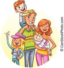 engraçado, portrait., caricatura, família, personagem