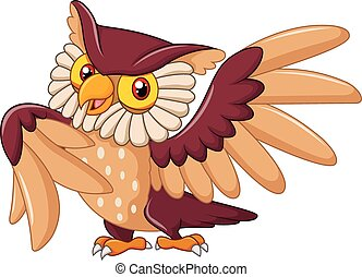 engraçado, posar, pássaro, coruja, caricatura
