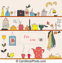 engraçado, prateleiras, chá, desenho, tempo, cozinha