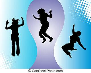 engraçado, pular, pessoas