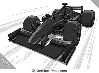 engraçado, raça, arte, car, rapidamente, vetorial, ilustração, fórmula, caricatura