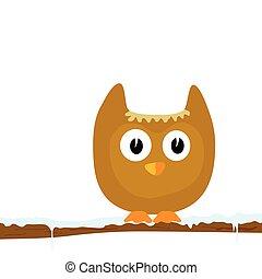 engraçado, ramo, neve, ilustração, dois, vetorial, parte animal