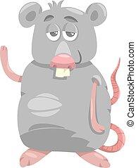 engraçado, rato, caricatura, ilustração