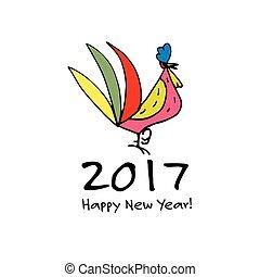 engraçado, símbolo, ano, novo, 2017, galo