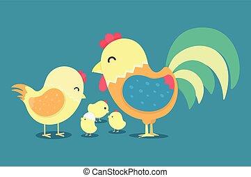 engraçado, símbolo, ano, novo, galinha, galo, 2017, cartão