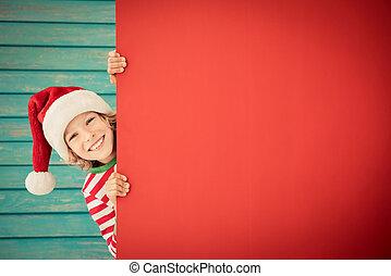 engraçado, segurando, em branco, papelão, bandeira, criança