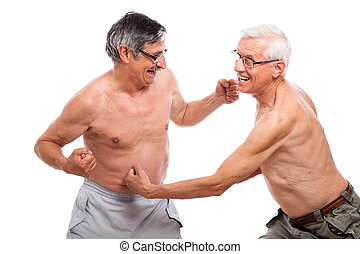 engraçado, seniores, luta