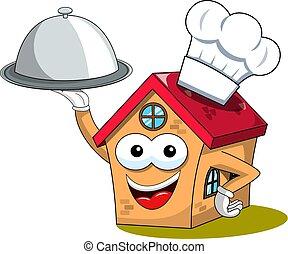 engraçado, servindo, casa, personagem, isolado, cozinheiro, cozinheiro, bandeja, caricatura, feliz