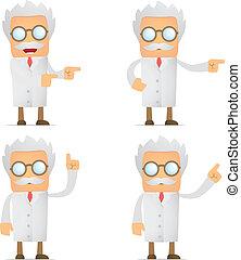 engraçado, seu, cientista, dedo, lado, mostra